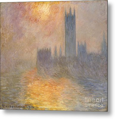 The Houses Of Parliament At Sunset Metal Print by Claude Monet