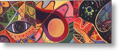The Joy Of Design Triptych Metal Print by Helena Tiainen