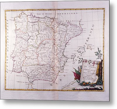 The Kingdom Of Spain And Portugal Divided Metal Print by Fototeca Storica Nazionale