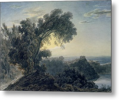 The Lake Of Albano And Castle Gandolfo  Metal Print by John Robert Cozens