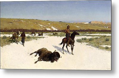 The Last Of The Herd Metal Print by Henry Francois Farny