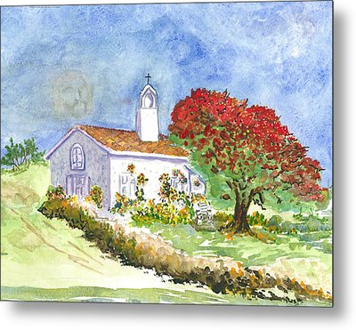 The Little White Church Metal Print