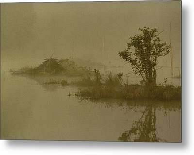 The Lodge In The Mist Metal Print by Skip Willits