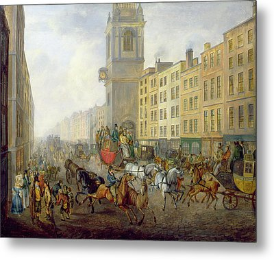 The London Bridge Coach At Cheapside Metal Print by William de Long Turner
