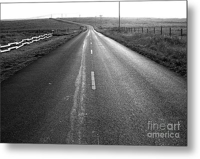 The Long Road Home . 7d9903 . Black And White Metal Print by Wingsdomain Art and Photography