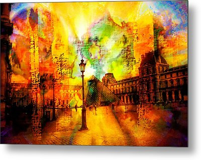 The Louvre Metal Print by Carrie OBrien Sibley