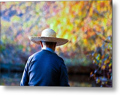 Metal Print featuring the photograph The Man In The Straw Hat by Ann Murphy