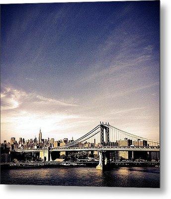 The Manhattan Bridge And New York City Skyline Metal Print by Vivienne Gucwa