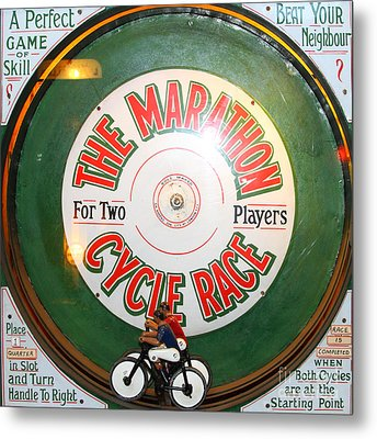 The Marathon Cycle Race At The Musee Mecanique At Fishermans Wharf . San Francisco Ca . 7d14396 Metal Print by Wingsdomain Art and Photography
