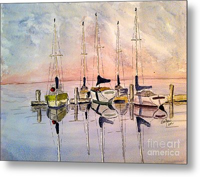 Metal Print featuring the painting The Marina by Eva Ason