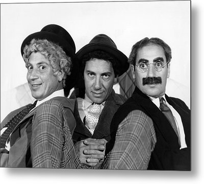 The Marx Brothers From Left Harpo Marx Metal Print