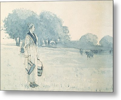 The Milkmaid Metal Print by Winslow Homer