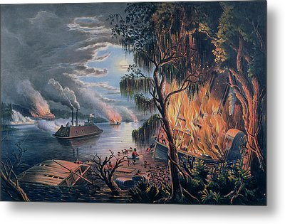 The Mississippi In Time Of War Metal Print by Frances Flora Bond Palmer