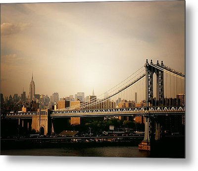 The New York City Skyline And Manhattan Bridge At Sunset Metal Print by Vivienne Gucwa