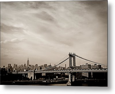 The New York City Skyline And The Manhattan Bridge Metal Print by Vivienne Gucwa