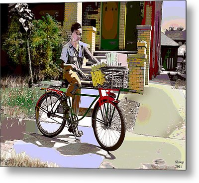 Metal Print featuring the mixed media The Newspaper Boy by Charles Shoup