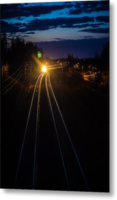 Metal Print featuring the photograph The Night Train by Matti Ollikainen