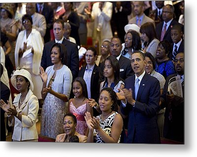 The Obama Family Attend An Easter Metal Print