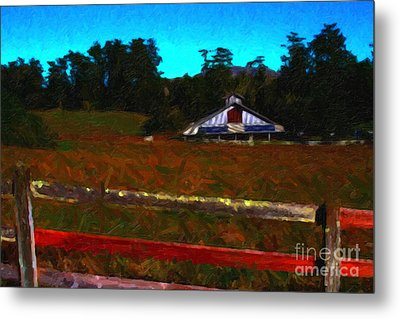 The Old Ranch At Dusk . Painterly Style Metal Print by Wingsdomain Art and Photography