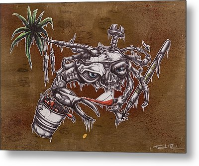 The One Who Escapes The Bucket Often Toasts With The Wicked Metal Print by Tai Taeoalii