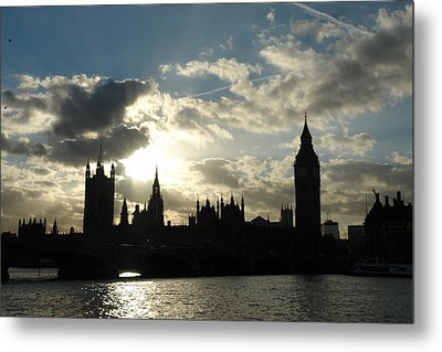 The Outline Of Big Ben And Westminster And Other Buildings At Sunset Metal Print