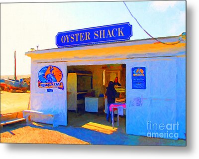 The Oyster Shack At Drakes Bay Oyster Company In Point Reyes . 7d9832 . Painterly Metal Print by Wingsdomain Art and Photography