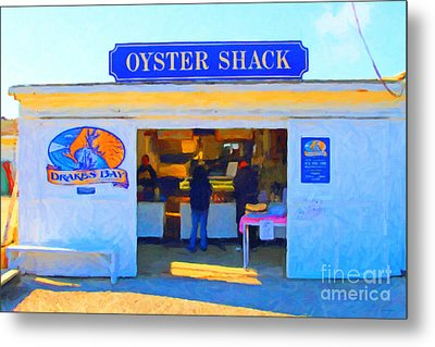 The Oyster Shack At Drakes Bay Oyster Company In Point Reyes . 7d9835 . Painterly Metal Print by Wingsdomain Art and Photography