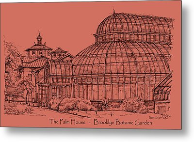 The Palm House In A Salmon Pink  Metal Print by Building  Art