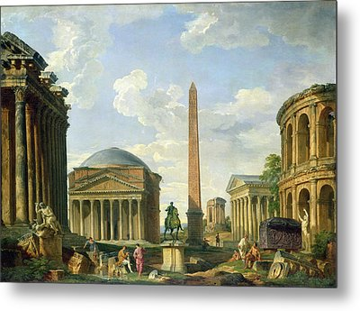 The Pantheon And Other Monuments 1735 Metal Print by Giovani Paolo Panini