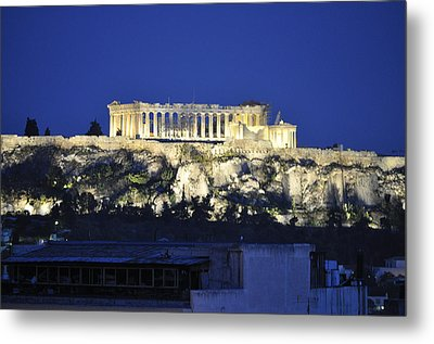 The Parthenon At Night Metal Print by MaryJane Armstrong