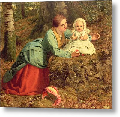 The Path Where The Brown Leaves Are Spread Metal Print by Frederick Richard Pickersgill