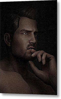 The Pensive Man - Cracked Colour Metal Print by Maynard Ellis