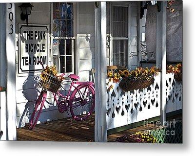 The Pink Bicycle Tea Room Metal Print by Jane Brack