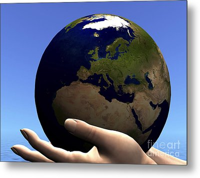 The Planet Earth Is Held In Caring Metal Print by Corey Ford