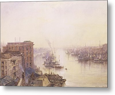 The Pool From The Adelaide Hotel London Bridge Metal Print by William Wyld