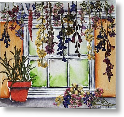The Potting Shed II Metal Print by Regina Ammerman
