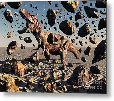 The Powerful T-rex Shatters Its Rock Metal Print