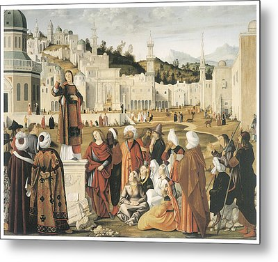 The Preaching Of Saint Stephen In Jerusalem Metal Print by Vittore Carpaccio