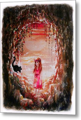 The Princess And The Cat Metal Print by Rachel Christine Nowicki