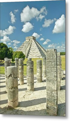 The Pyramid Of Kukulkan, (also Known As El Castillo), A Mayan Ruin, As Seen From The Thousand Columns (foreground), Chichen Itza, Mexico Metal Print by VisionsofAmerica/Joe Sohm