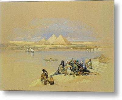 The Pyramids At Giza Near Cairo Metal Print by David Roberts