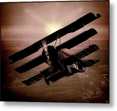 Metal Print featuring the photograph The Red Baron's Fokker At Sunset by Chris Lord