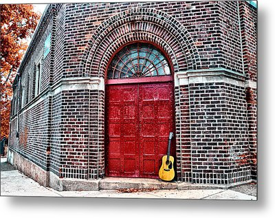 The Red Door And The Guitar Metal Print