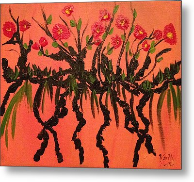 The Red Flowers By Sunset Metal Print by Pretchill Smith