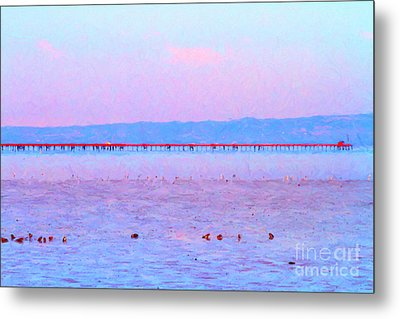 The Red Pier . 7d12310 Metal Print by Wingsdomain Art and Photography