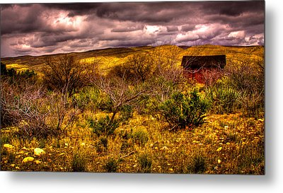 The Red Shed At Red Rock Canyon Metal Print by David Patterson