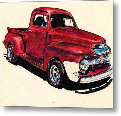 The Red Truck Metal Print by Cheryl Poland