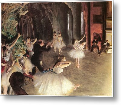 The Rehearsal On The Stage Metal Print by Edgar Degas