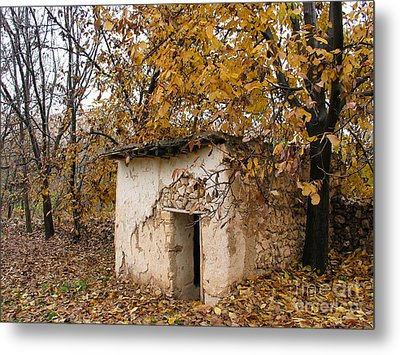 The Remote Autumn Hut Metal Print
