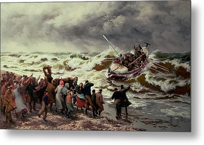 The Return Of The Lifeboat Metal Print by Thomas Rose Miles